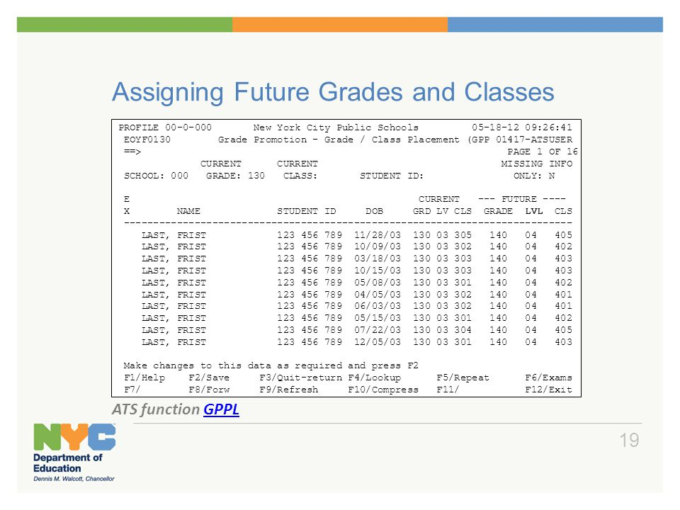 Assigning Future Grades and Classes