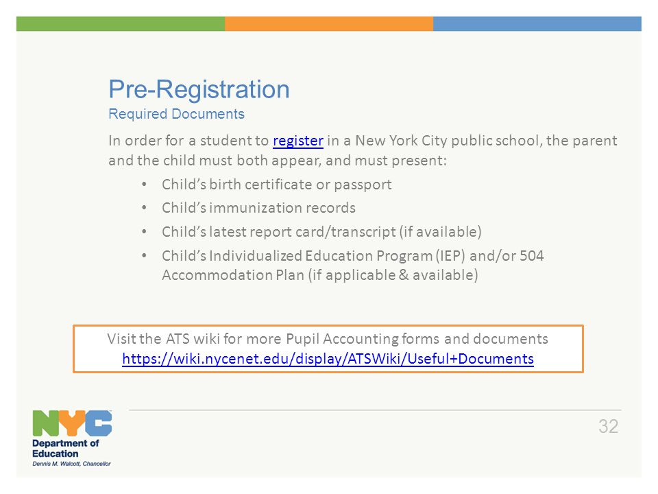 Pre-Registration Required Documents
