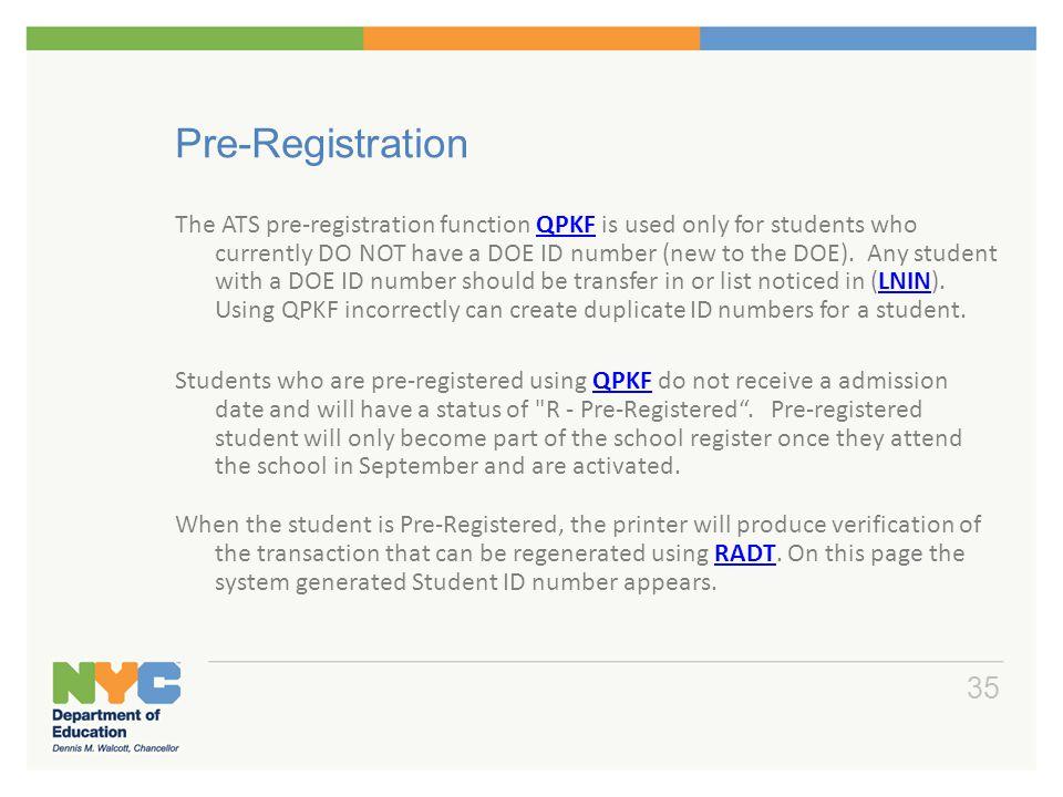 Pre-Registration For Pre-K and kindergarten students:
