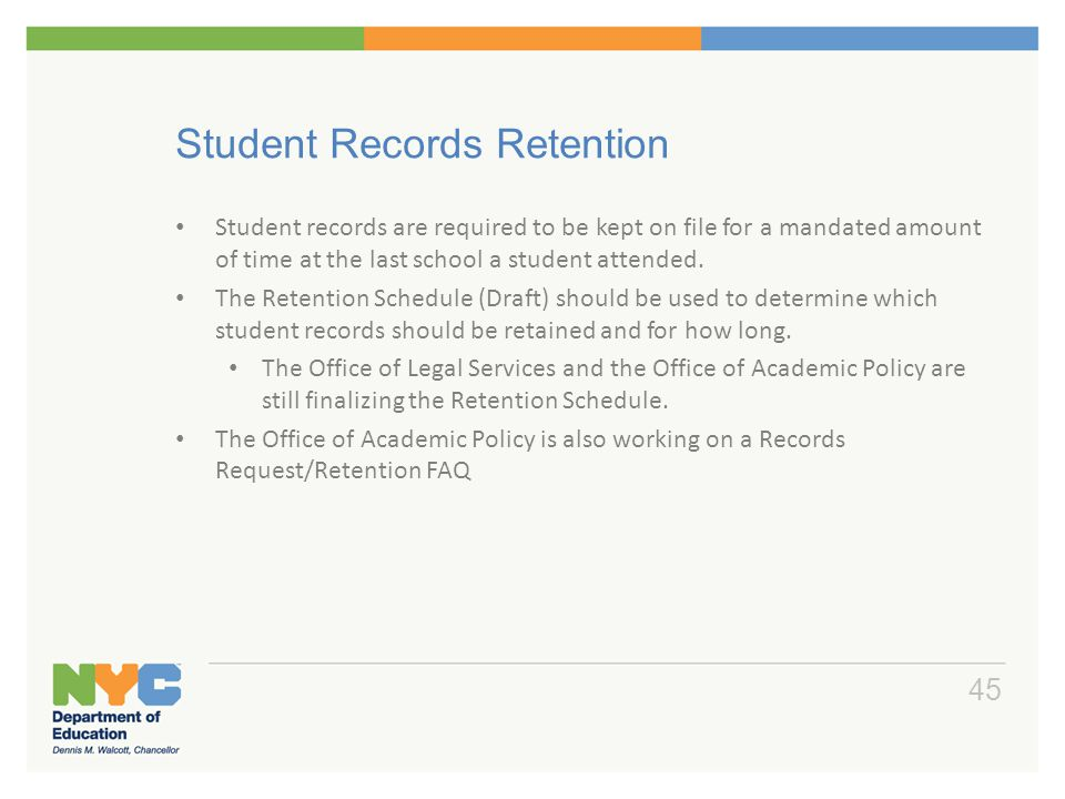 Student Records Retention and EOY