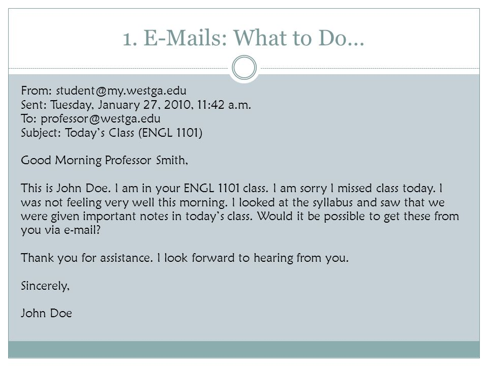 1. E-Mails: What to Do…