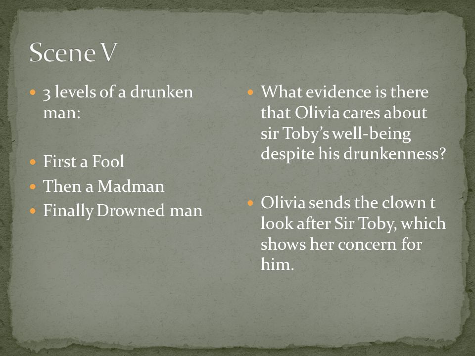 Scene V 3 levels of a drunken man: First a Fool Then a Madman