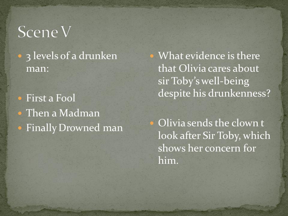 Scene V 3 levels of a drunken man: First a Fool Then a Madman
