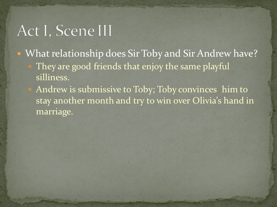 Act I, Scene III What relationship does Sir Toby and Sir Andrew have