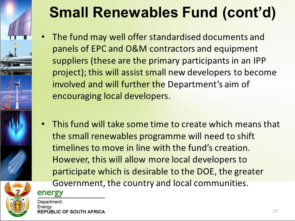 Small Renewables Fund (cont'd)