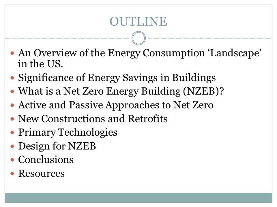 OUTLINE An Overview of the Energy Consumption 'Landscape' in the US.