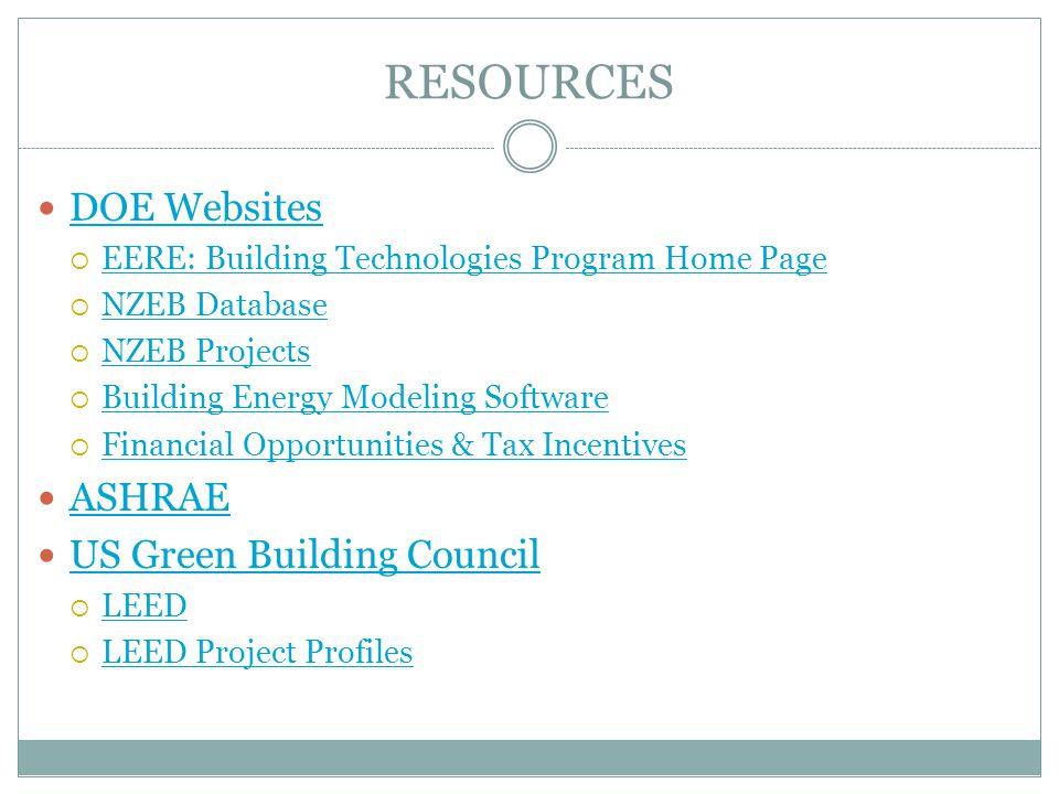 RESOURCES DOE Websites ASHRAE US Green Building Council