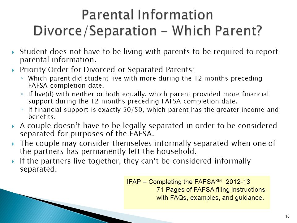 Parental Information Divorce/Separation - Which Parent