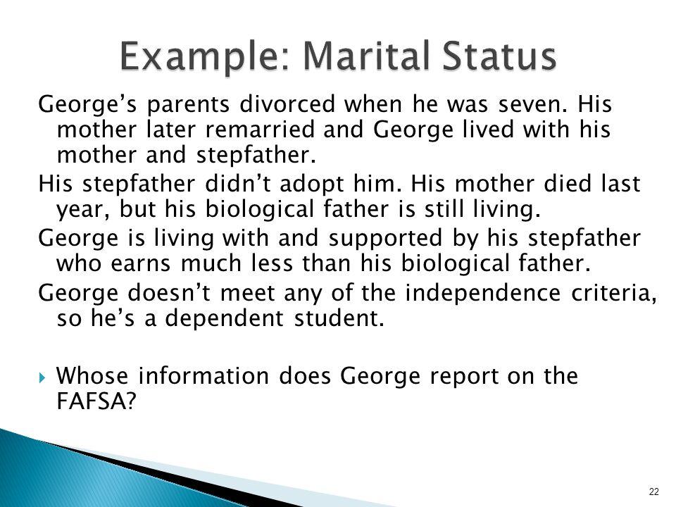 Example: Marital Status
