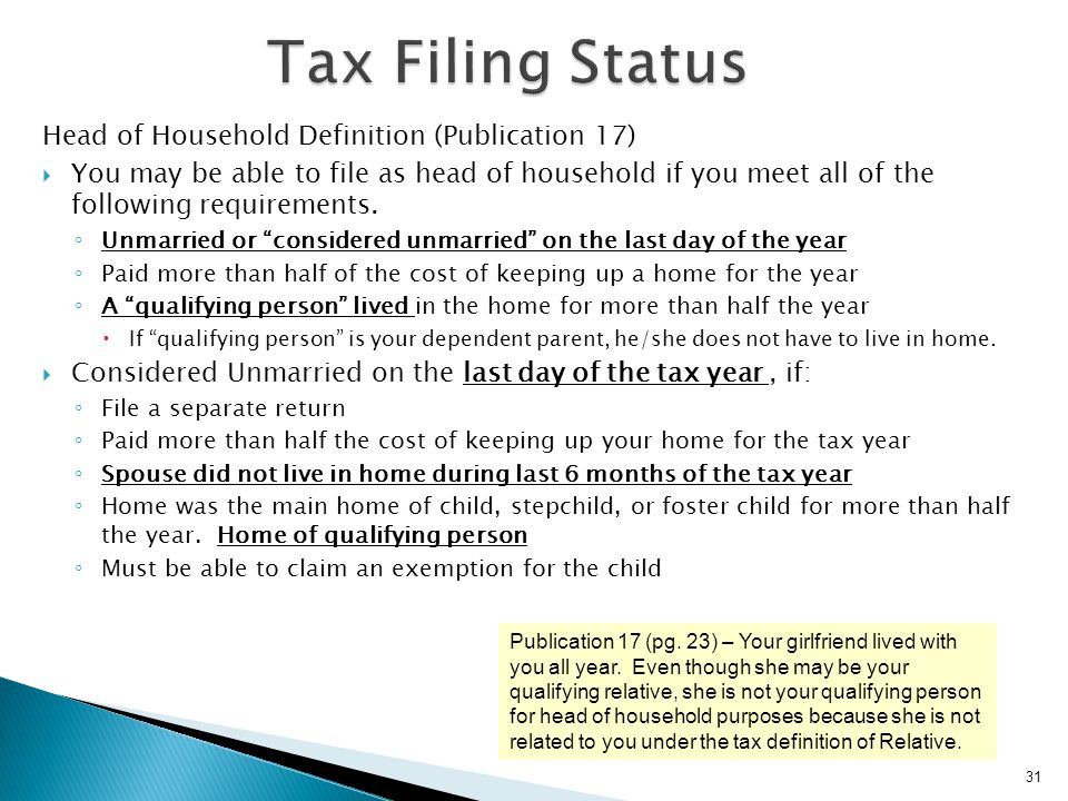 Tax Filing Status Head of Household Definition (Publication 17)