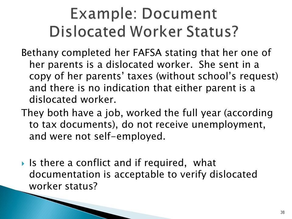 Example: Document Dislocated Worker Status