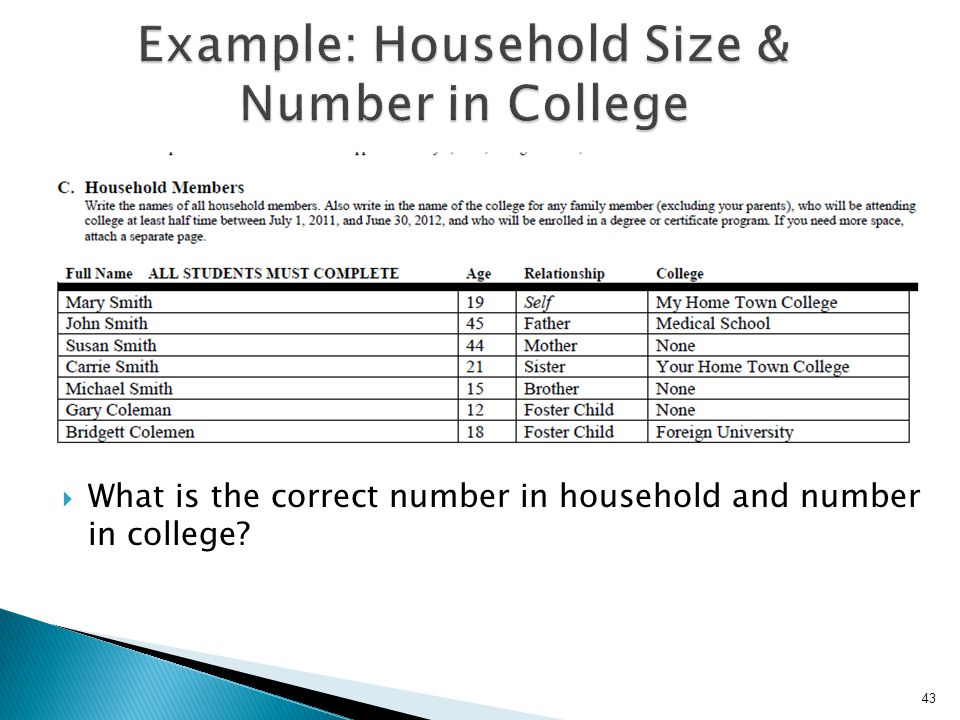 Example: Household Size & Number in College
