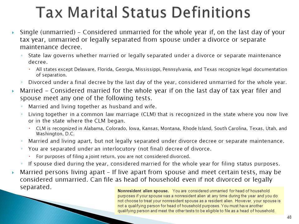 Tax Marital Status Definitions