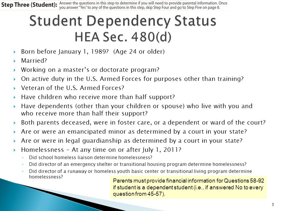 Student Dependency Status HEA Sec. 480(d)