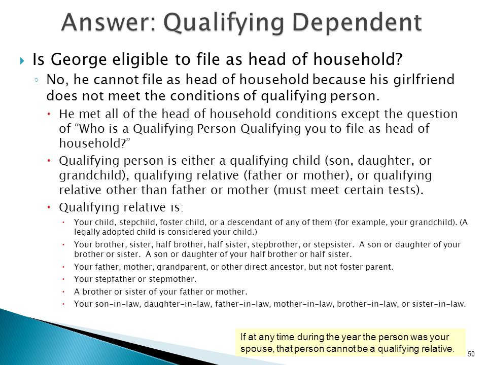Answer: Qualifying Dependent