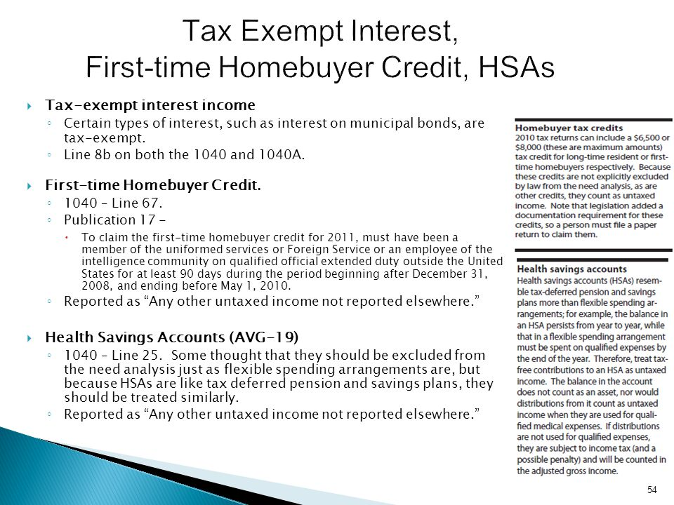Tax Exempt Interest, First-time Homebuyer Credit, HSAs
