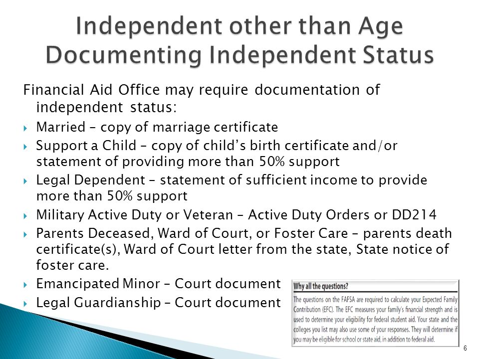 Independent other than Age Documenting Independent Status