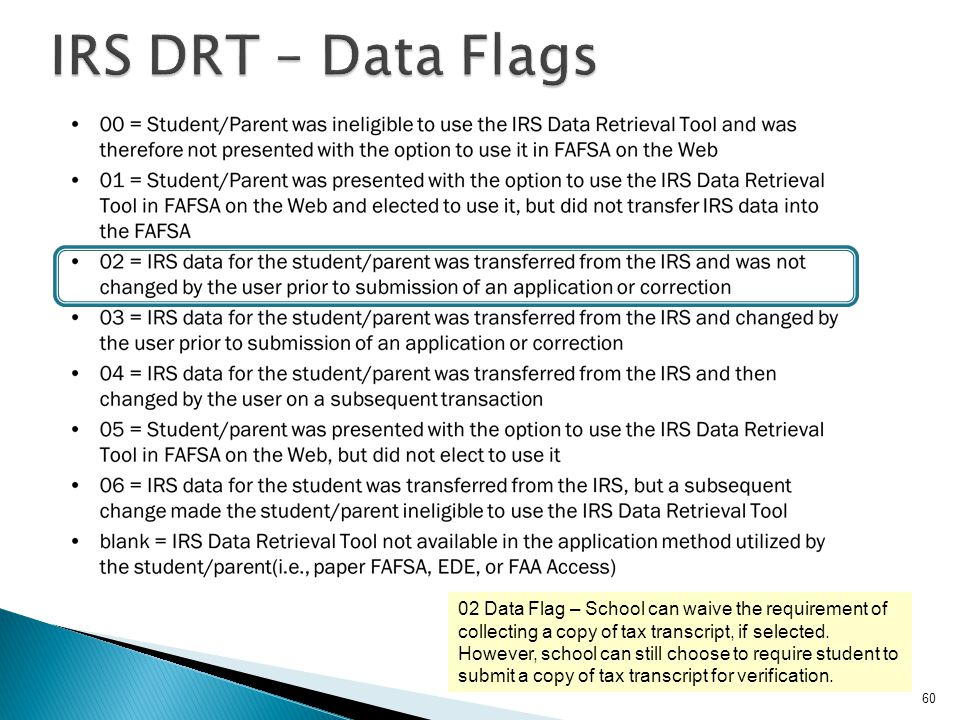 IRS DRT – Data Flags