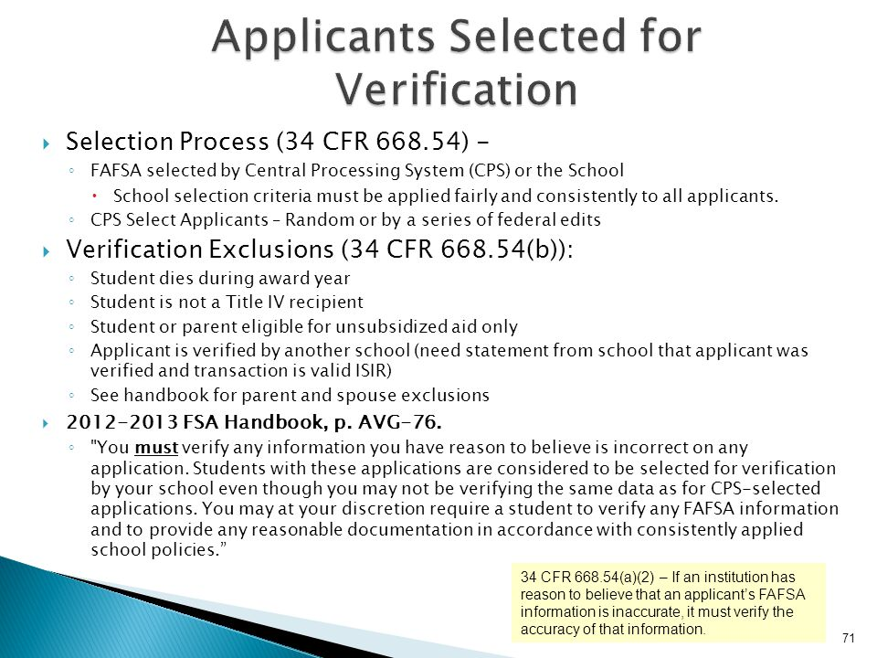 Applicants Selected for Verification