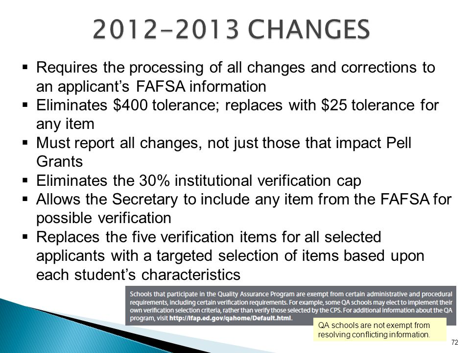 2012-2013 CHANGES Requires the processing of all changes and corrections to an applicant's FAFSA information.