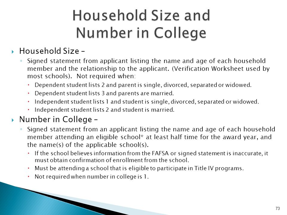 Household Size and Number in College