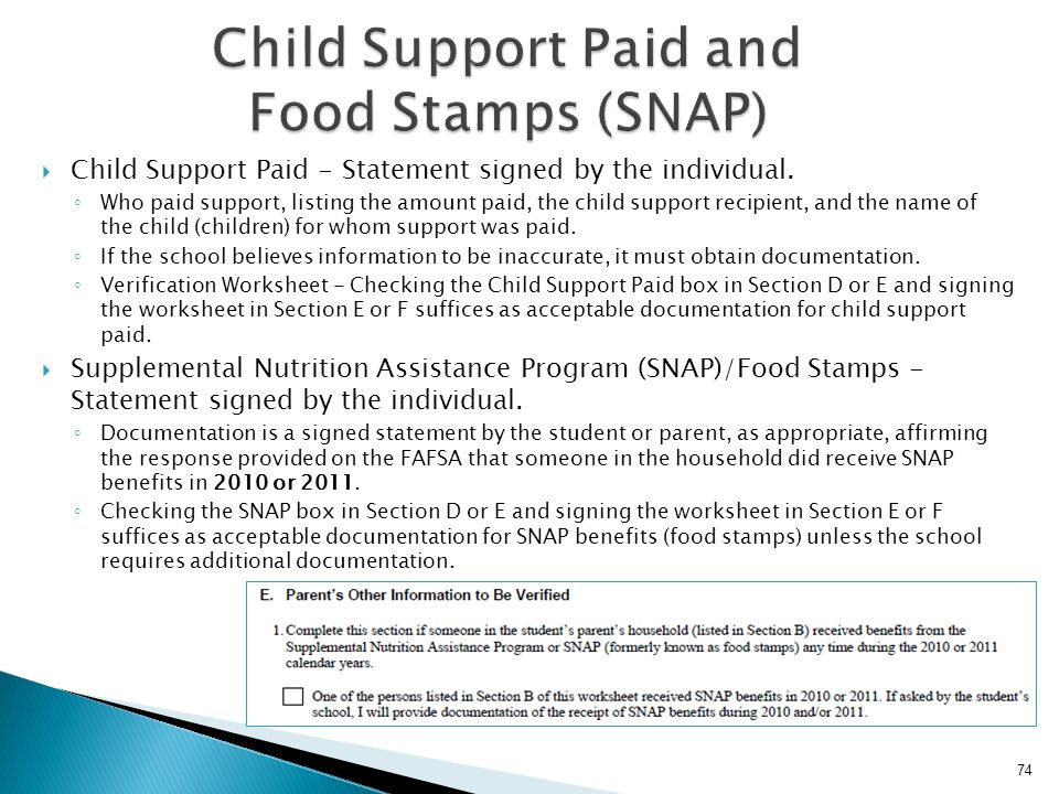 Child Support Paid and Food Stamps (SNAP)