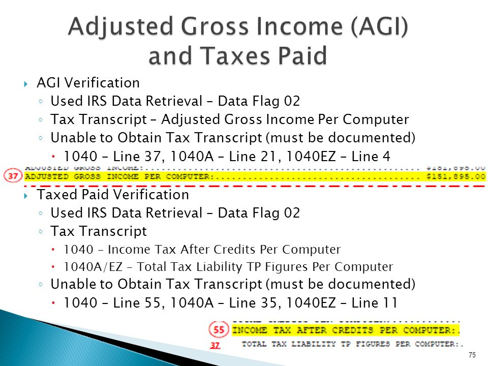 Adjusted Gross Income (AGI) and Taxes Paid