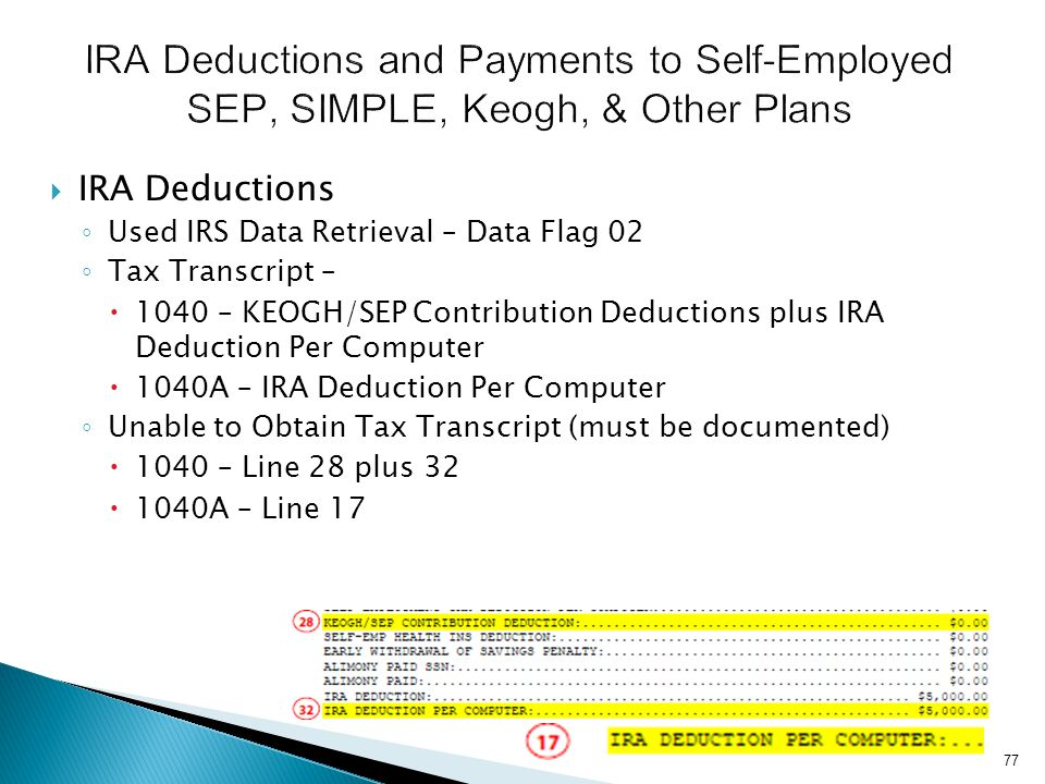 IRA Deductions and Payments to Self-Employed SEP, SIMPLE, Keogh, & Other Plans