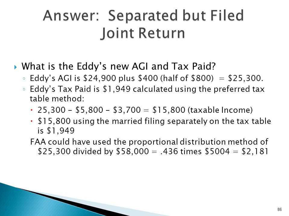 Answer: Separated but Filed Joint Return