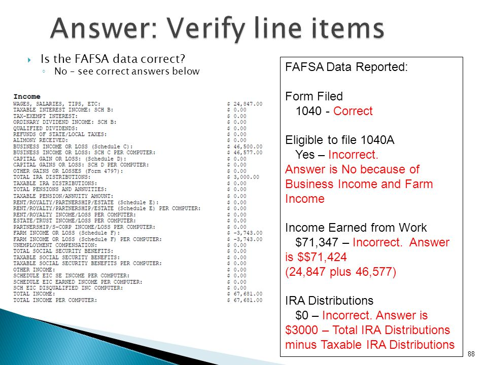 Answer: Verify line items