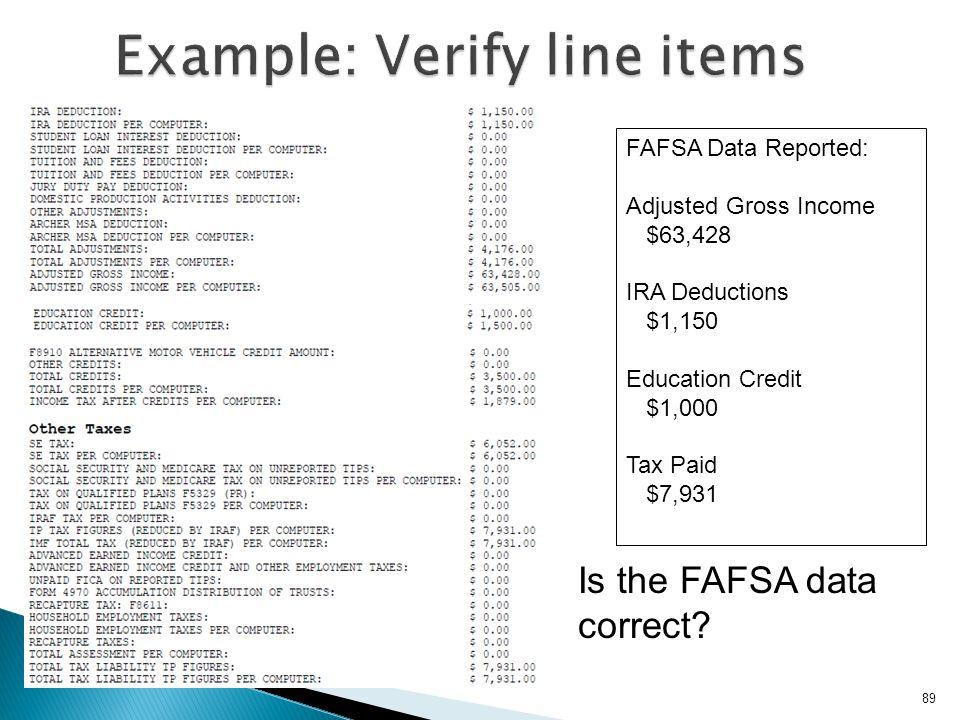 Example: Verify line items