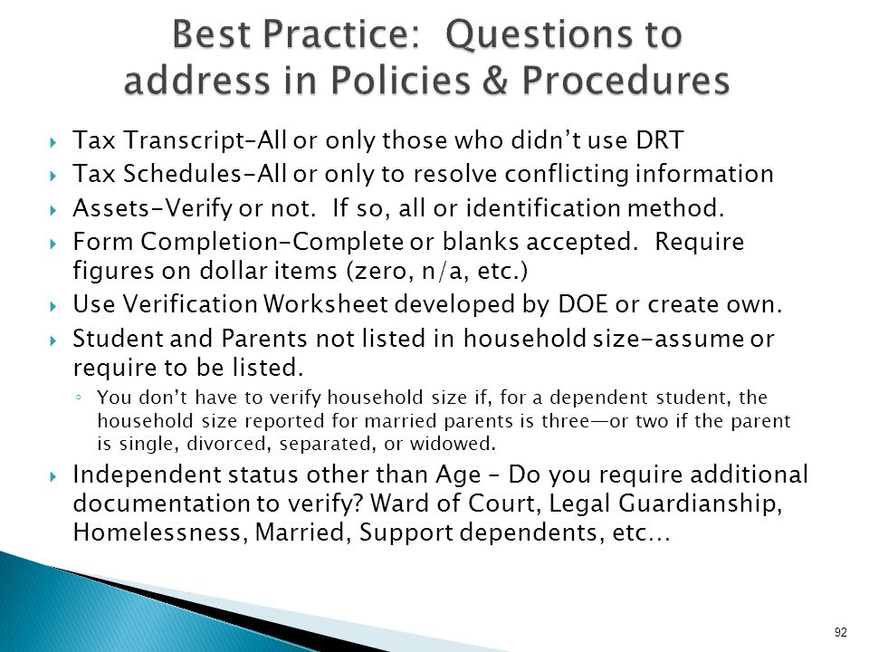 Best Practice: Questions to address in Policies & Procedures