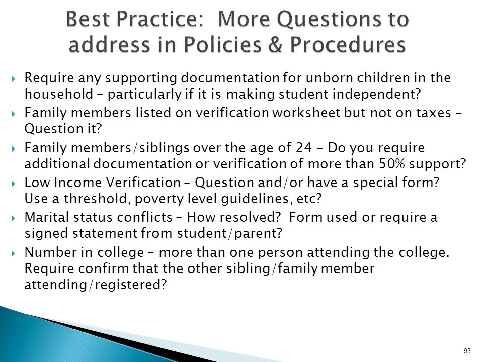 Best Practice: More Questions to address in Policies & Procedures