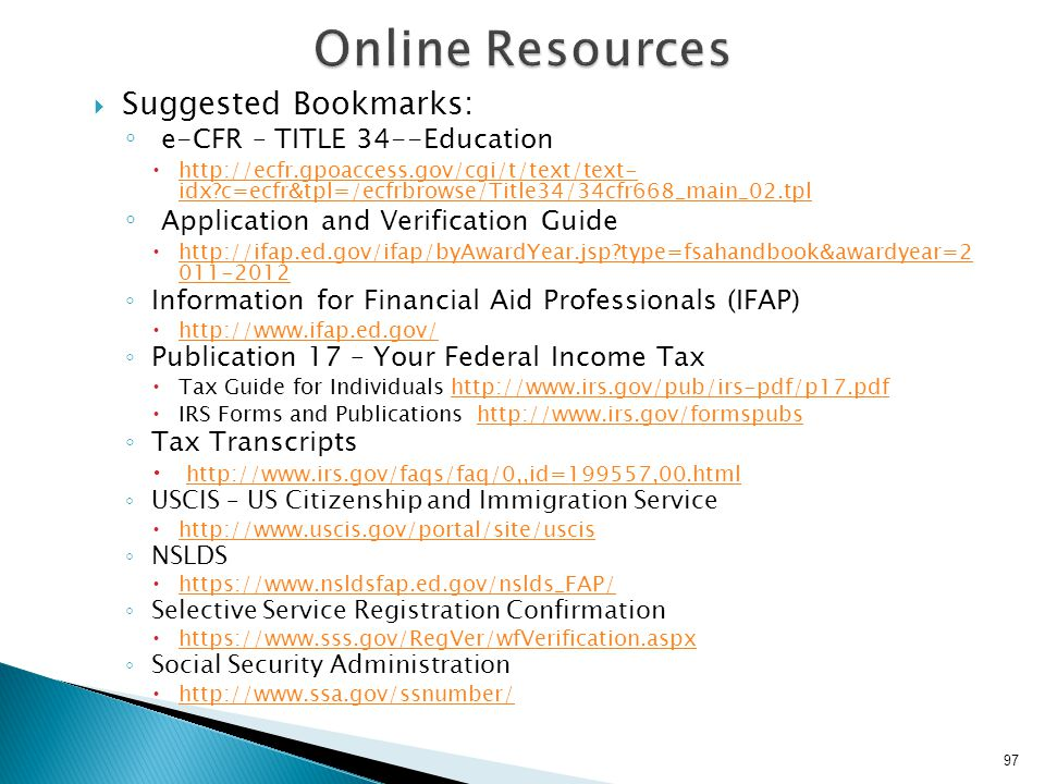 Online Resources Suggested Bookmarks: e-CFR – TITLE 34--Education