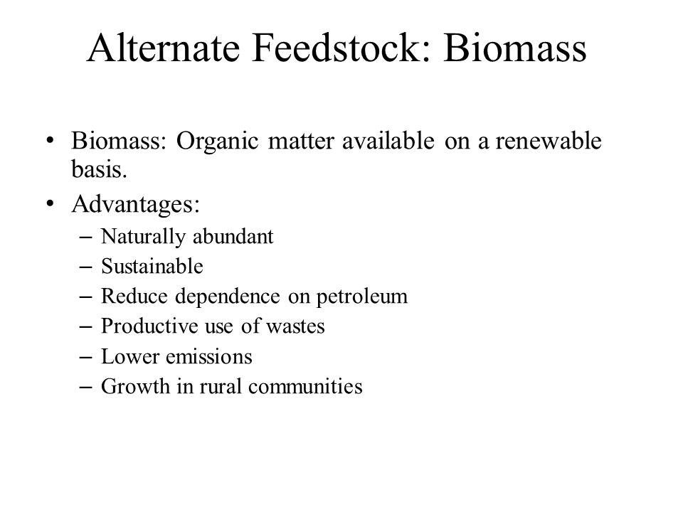 Alternate Feedstock: Biomass