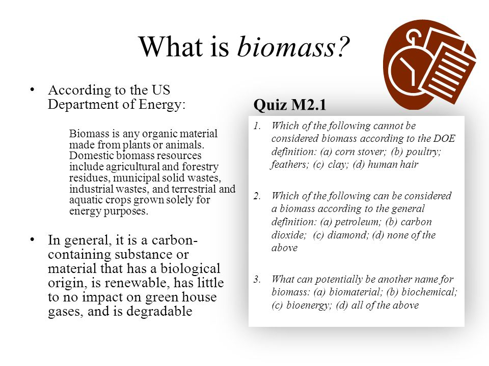 What is biomass Quiz M2.1 According to the US Department of Energy: