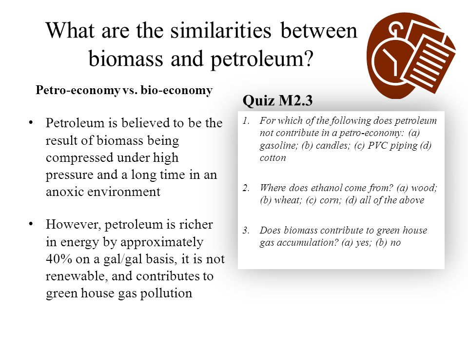 What are the similarities between biomass and petroleum