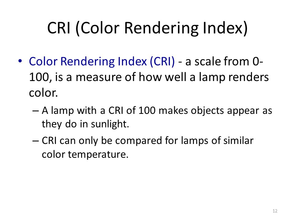 CRI (Color Rendering Index)