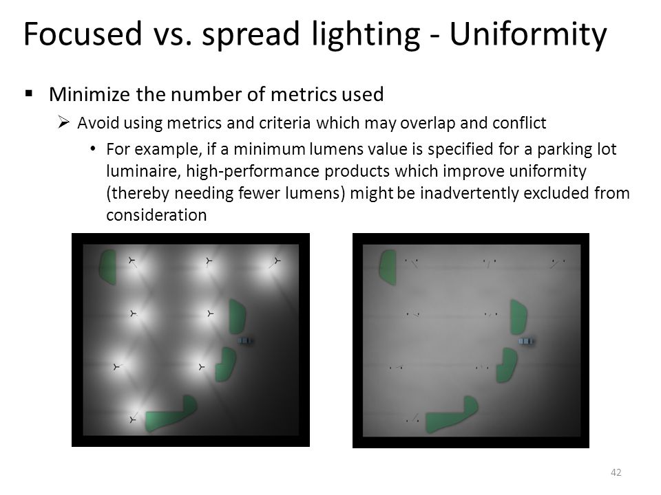 Focused vs. spread lighting - Uniformity