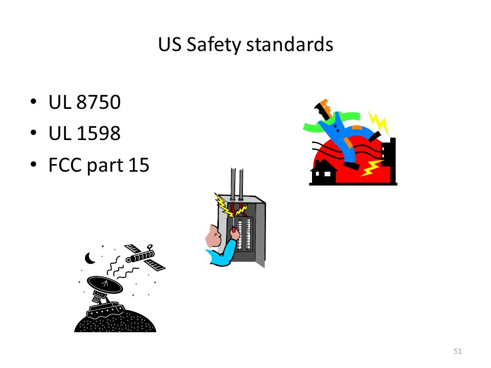 US Safety standards UL 8750 UL 1598 FCC part 15