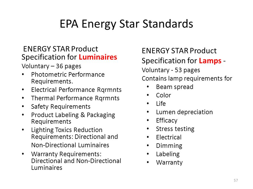 EPA Energy Star Standards