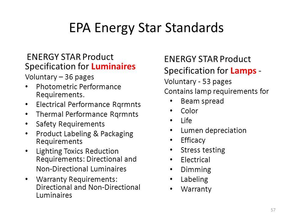 EPA Energy Star Standards