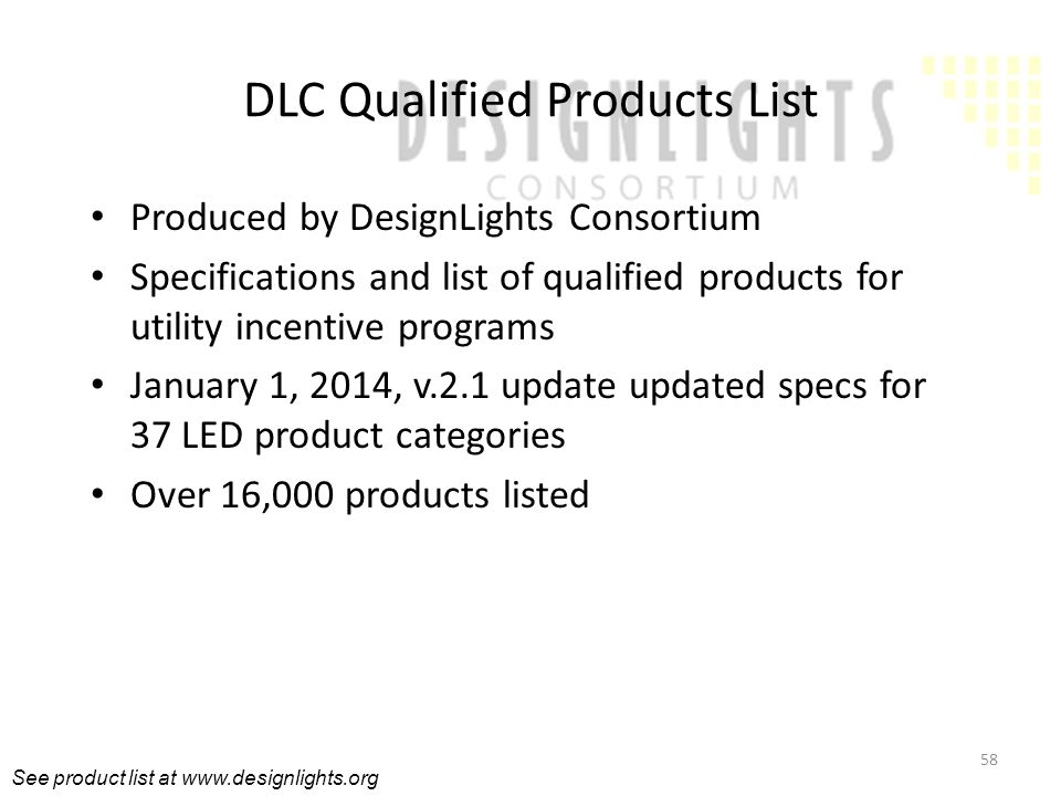 DLC Qualified Products List