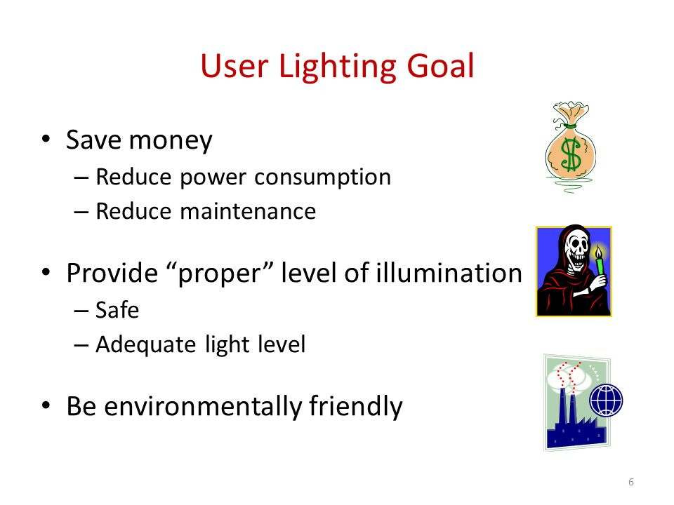 User Lighting Goal Save money Provide proper level of illumination