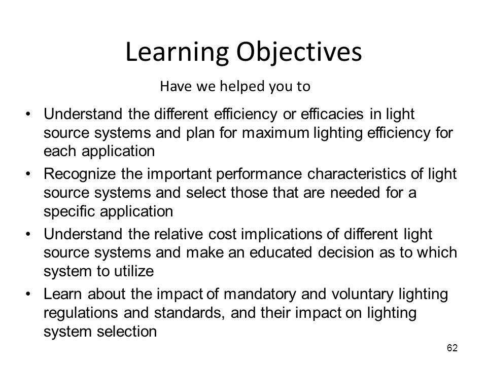 Learning Objectives Have we helped you to