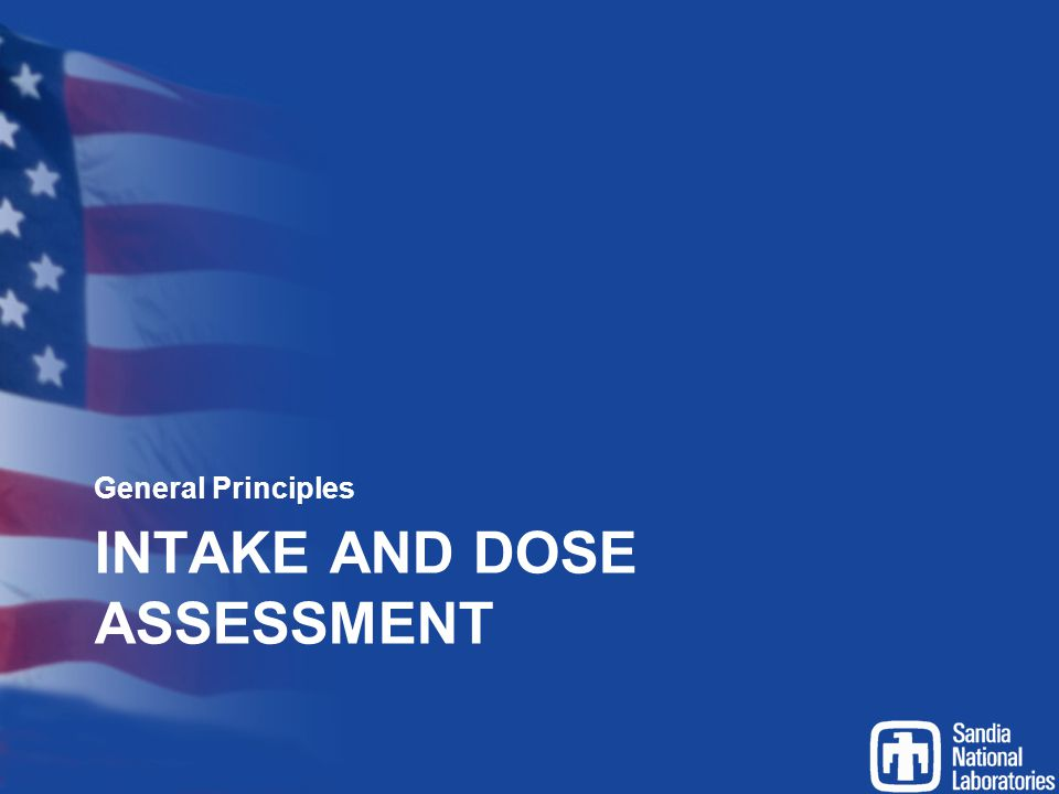 Intake and Dose Assessment