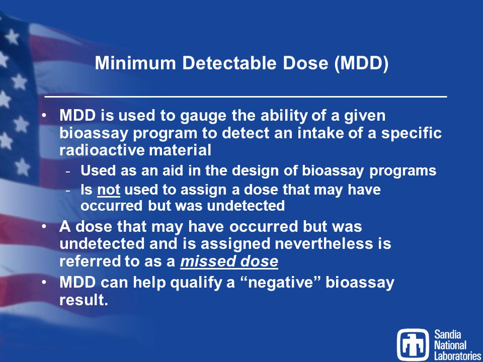 Minimum Detectable Dose (MDD)