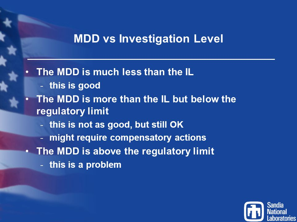 MDD vs Investigation Level