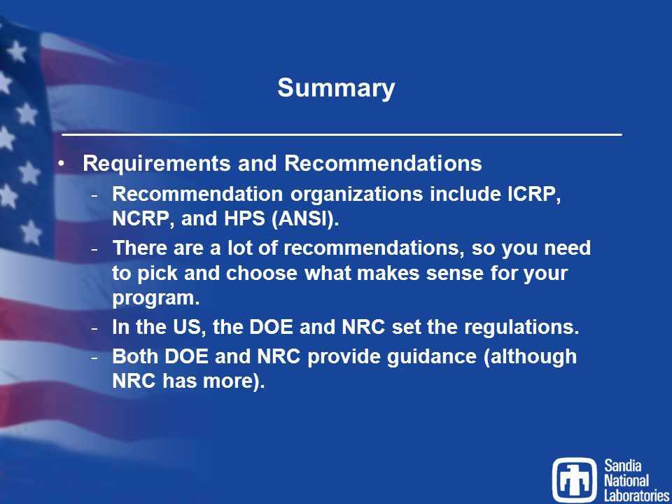 Summary Requirements and Recommendations