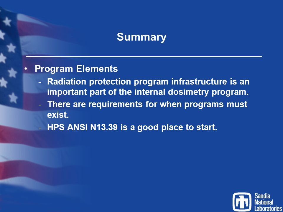Summary Program Elements